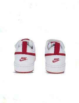 Zapatilla Nike court borough low 2 blanco rojo de niño