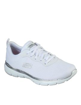 skechers flex appeal 3.0  First Insight blanco plata de muje