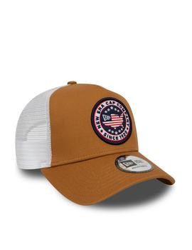 Gorra new era usa patch trucker marron blanco