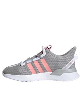 zapatilla adidas U path run gris rosa de niña.