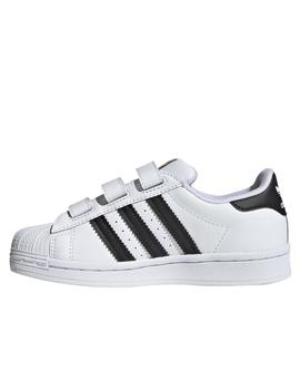 Zapatillas adidas superstar cf blanco de niño.