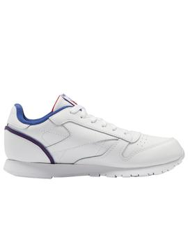 Zapatilla reebok classic leather junior blanco deep cobalt.