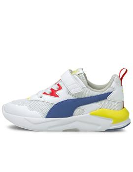 Zapatillas puma x-ray ac ps blanco azul de niño.