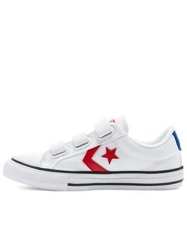 Zapatillas converse star player 3v ox blanco rojo de niño.