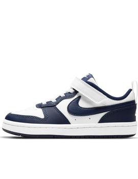 Zapatillas nike court borough low 2 blanco azul de niño.